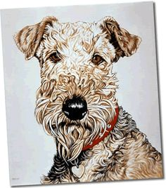 Airdale Terrier Oil on canvas
