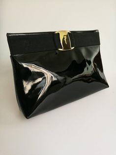 SALVATORE FERRAGAMO Vara vintage black patent leather shoulder   crossbody  bag   clutch f9c8c02d1f