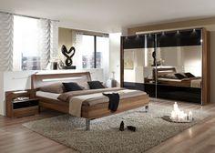 Schlafzimmer Komplett Walnuss Mit Schwarzglas 5747. Buy Now At Https://www.