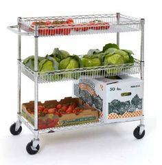 The New Metro Basket Cart with 2 basket shelves and 1 open wire shelf.