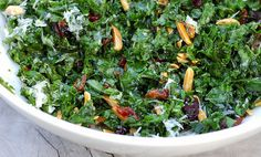 Citrus-Massaged Raw Kale Salad, add a few mor things, cherry tomatoes, onions, carrots maybe, and what a great side!