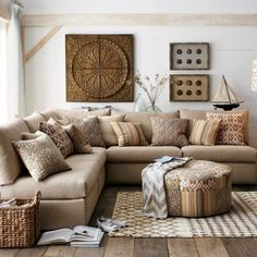 """Love this """"linen"""" look sectional.  I think I would add more color through the pillows but I really like the feel of the room."""