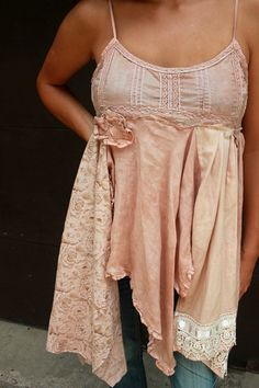 REVIVAL Upcycled Cotton Camisole Shabby Chic Country Girl Farm Girl