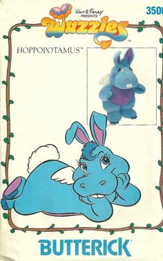 Butterick 3500 1980s Walt Disneys Wuzzles Hoppopotamus Stuffed Toy Vintage Sewing Pattern Hippopatamus and Bunny Rabbit by patterngate.com