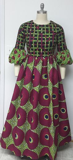 AYAWAX Collection. Multi African Print Maxi Dress. Lattice