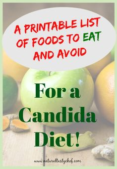 Here s a Printable list of foods to EAT and AVOID while ing a Candida Diet. Easy and Convenient to save to your smart phone or computer. Candida Diet Food List, Anti Candida Diet, Candida Cleanse, Cleanse Diet, Candida Diet Recipes Snacks, Candida Diet Breakfast, Anti Candida Recipes, Candida Symptoms, Sugar Detox Recipes