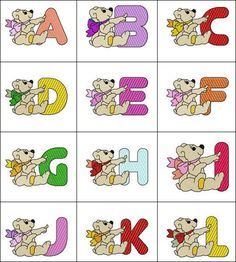 """""""Bear Alphabet"""" These sweet Teddy Bear letters will be great for kids rooms, or even consider creating one's own fabric blocks, using these designs to decorate all the sides, to help teach children their letters! This bear-ific #MachineEmbroidery alphabet is digitized for 4x4 hoops!"""