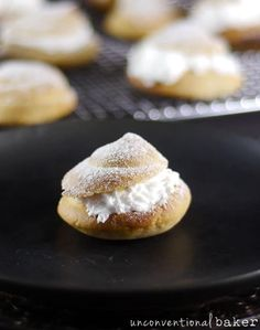 These little gluten-free vegan cream puffs you see featured here have been a pure labor of love and were not an easy recipe to create... isn't it amazing... Gluten Free Sweets, Gluten Free Baking, Vegan Gluten Free, Gluten Free Recipes, Vegan Recipes, Dairy Free, Sweet Recipes, Profiteroles Recipe, Vegan Whipped Cream