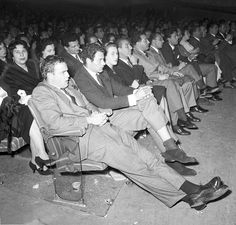 """#MarlonBrando in Italy Attending the preview of """"On the waterfront"""" on the stage of the Cinema Fiamma. Rome, 1954."""