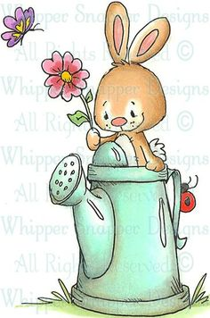 Bunny Watering Can - Rabbits - Animals - Rubber Stamps - Shop