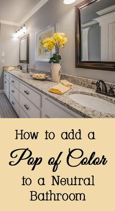 Ideas for how to add a pop of color to a boring neutral bathroom - all white, diy, easy, cheap, fun