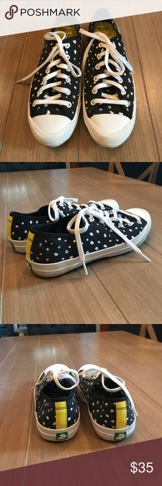 Black & White Kate Spade Saturday PF Flyers Black with white dots Kate Spade Saturday x PF Flyer sneakers Sz 8. Worn but in good condition. Signs of wear as shown. Bundle and save! kate spade Shoes Sneakers