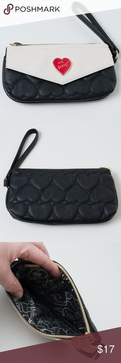 """Betsey Johnson Wallet Clutch Black Cream EUC Used but excellent condition Betsey Johnson wallet/clutch. 8"""" wide 4.5"""" tall. Off white and black. Betsey Johnson Bags Wallets"""