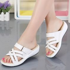 Women's Sandals Slippers Wedge Heel Real Leather Shoes