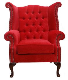 Chesterfield Fabric Queen Anne High Back Wing Chair Rouge Red, Leather Sofas, Traditional Sofas Leather Wingback Chair, Wingback Armchair, Leather Sofas, Armchairs, Chesterfield, Home Decor Furniture, Cool Furniture, Queen Anne Chair, Sofa Uk