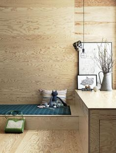 Petra Bindel Interior Design Photography With Lotta Agaton. I like the look of plywood all by itself Plywood Interior, Plywood Walls, Home Interior, Interior Architecture, Interior And Exterior, Decor Scandinavian, Wood Interiors, Deco Design, Interiores Design