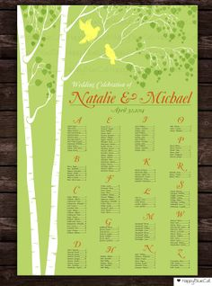 Spring Tree Wedding Seating Chart Wedding Seating by HappyBlueCat, $35.00
