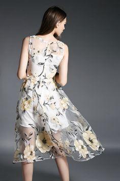ワンピース - ワンピース・ドレス - エレガントな花柄模様透けるオーガンジー素材ノースリーブ美脚セクシーに魅せワンピース★