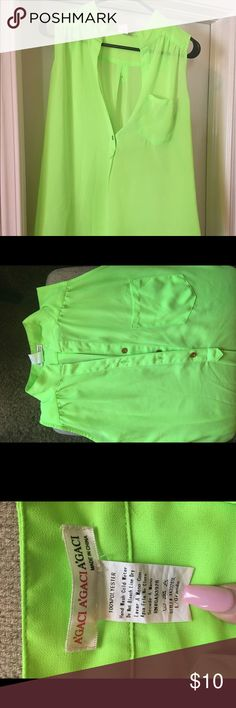 Agaci hi low top Agaci hi low top, neon green, size L, gold buttons, great condition! agaci Tops Blouses