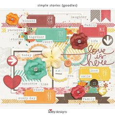 Simple Stories Goodies - 70 elements to coordinate with Simple Stories Sketches! Just $3.60 at Oscraps