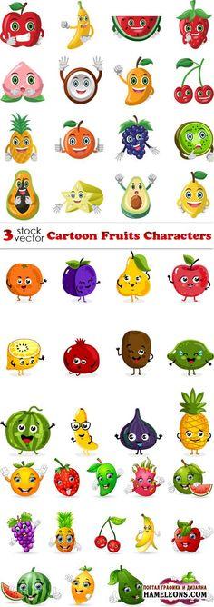 Мультяшные фрукты в векторе | Cartoon Fruits Characters