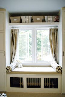 Love the faux built ins, the window seat (which is a radiator cover) and the shelves above the window. Home Decor Bedroom, Modern Bedroom, Trendy Bedroom, Summer Bedroom, Bedroom Ideas, Shelf Over Window, Above Window Decor, Window Benches, Window Seats