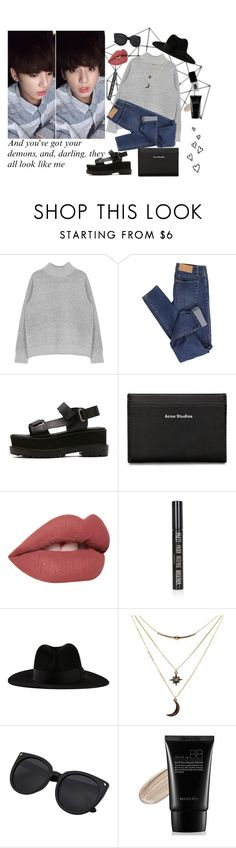 """~They all look like me~"" by milda-mint ❤ liked on Polyvore featuring Cheap Monday, Acne Studios, Topshop, Filù Hats, Charlotte Russe and Jin Soon"