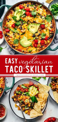 Here comes the best Cinco de Mayo dinner recipe! This easy Vegetarian Taco Skillet is made with beans, quinoa, vegetables, cheese, and your favorite Mexican flavors. This one-pan meal is the perfect… Vegetarian Tacos, Vegetarian Recipes Easy, Easy Dinner Recipes, Breakfast Recipes, Dinner Ideas, Easy Skillet Meals, Skillet Recipes, Super Easy Dinner, One Pan Meals