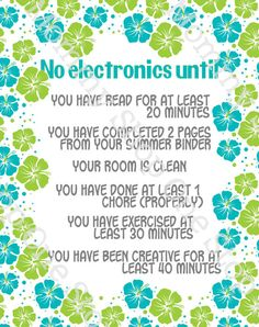 1/2 off Summer Electronics / Screen-time Rules Printable