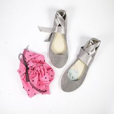 Cool Gray Leather Suede Handmade Ballet Flats Shoes with Ankle Satin Ribbon Wedding Bridal Shoes  www.elehandmade.etsy.com