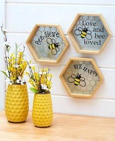 Accent your homethis spring with thebreezy pieces in this Honey Bee Home Decor collection. The Inspirational Wall Decor hasa honeycomb-shaped Honey Bee Home, Honey Bees, Honeycomb Shape, Cute Bee, Bee Art, Theme Color, Bee Happy, Mellow Yellow, Creations