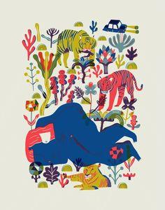 Une illustration de Diego Marmolejo. J'aime beaucoup ces couleurs pétillantes et la naïveté des dessins. Pour moi, c'est une source d'inspiration pour un combo de couleurs.