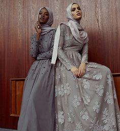 "islamic-fashion-inayah: ""New arrivals - Grey Flo. Islamic Fashion, Muslim Fashion, Modest Fashion, Fashion Outfits, Muslim Prom Dress, Muslim Evening Dresses, Muslimah Clothing, Modest Clothing, Hijabi Gowns"