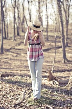 high belted plaid pretty
