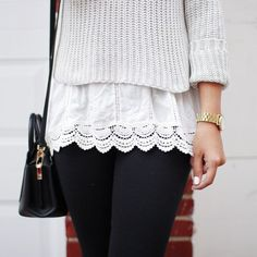 pale knit, lace hem, black