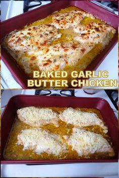 Garlic Butter Chicken, Baked Garlic, Keto Chicken, All You Need Is, Yummy Chicken Recipes, Yummy Food, Low Carb Recipes, Cooking Recipes, Baked Chicken Tenders