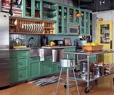 Love this sea foam green #kitchen!