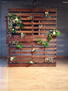 Pallet Backdrop: Wood pallet backdrop, stained in a beautiful mid-tone. We love it styled with floral! Perfect for backdrops, behind a dessert bar, a place to hang photos or old windows! So many possibilities. REQUIRES Ira & Lucy installation.