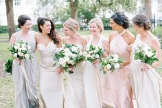 The bride picked out individual sihouettes for each bridesmaid, styled in different shades of neutral. How gorgeous do they look together!?  Coordination | Mac & B Events >> Photography | Aaron and Jillian Photography >> Florist | Tiger Lily Florist