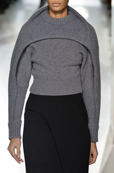 Sculptural Knitwear - grey contoured sweater - curved shapes; 3D fashion construction // Balenciaga fw14