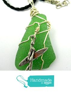 New Green Sea Glass Surfer Girl Charm Necklace Silver Wire Wrap Including Bail Black Silk Cord Oregon Sea Glass Surfboard Carrying Girl. from Glass Creations by Marcia http://www.amazon.com/dp/B01C6KW0TU/ref=hnd_sw_r_pi_dp_By53wb0BX9WKK #handmadeatamazon