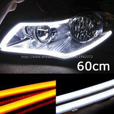 White Amber New 2PCS 60CM DRL Flexible LED Tube Strip Daytime Running Lights Turn Signal Angel Eyes Car Styling Parking Lamps