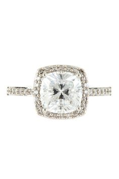 Square Halo Cushion Cut CZ Ring