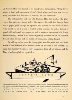 1926 Vintage Ad Crane's Bond Letterhead Paper: A good business man treats stationery not as an office expense but as part of the advertising budget.