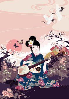 Kimono Girl / 着物少女 #Japan #日本 (Plaing Shamisen / 三味線)