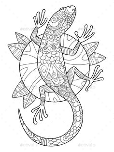 lizard coloring book for adults vector illustration. Anti-stress coloring for ad… lizard coloring book for adults vector illustration. Anti-stress coloring for adult. Black and white lines. Mandala Coloring Pages, Animal Coloring Pages, Coloring Book Pages, Printable Coloring Pages, Coloring Pages For Kids, Kids Coloring, Illustration Book, Quilled Creations, Art Projects For Adults