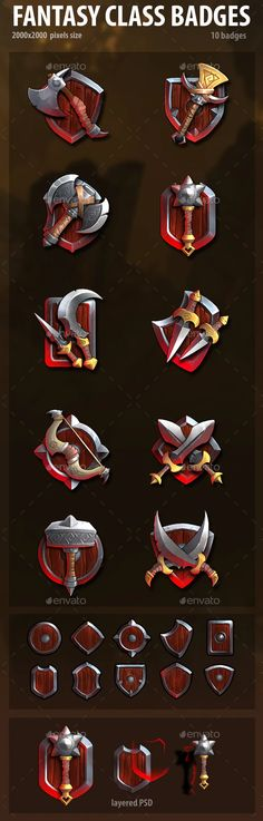 Buy Fantasy Class Badges by analeo on GraphicRiver. This asset contains 10 unique class badges. Also it contains 10 shields. All items are hand drawn and have .