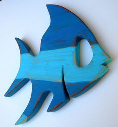 Wood Fish Beach house Decor Distressed Upcycled by sodistressed