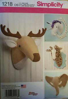 Simplicity Pattern 1218 Plushed Stuffed Animal Heads  New FREE SHIPPING