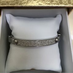 MICHAEL KORS silver rhinestone bangle Beautiful silver tone bangle with Pave crystals by Michael Kors New! With box and cleaning instructions .FIRM PRICE 🚫trades Michael Kors Jewelry Bracelets